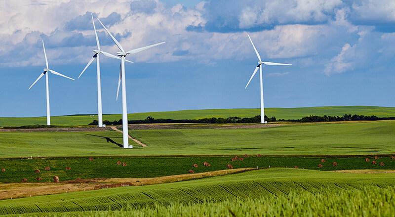 Champs d'éoliennes, énergie verte